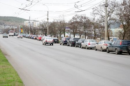 blackout: KERCH, CRIMEA, RUSSIA - NOVEMBER 26: Queue of cars at the gas station in Kerch during the blackout on November 26, 2015 in Kerch, Crimea, Russia Editorial