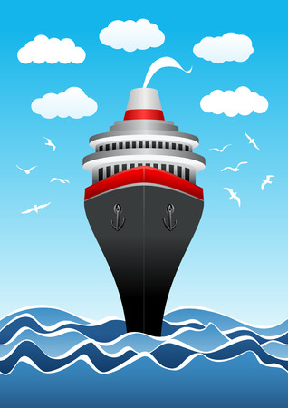frontal: Passenger ship in the sea in vector. Frontal view Illustration