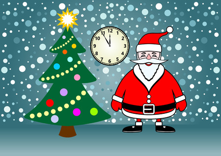 watch new year: Christmas and New Year illustration - Santa Claus in a vector on a background of falling snow, with a Christmas tree and dial