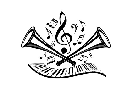Musical illustration in vector - trumpets, pianos, sheet music, notes, treble clef