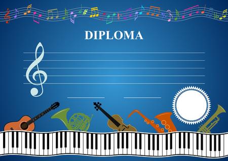 diploma template: Musical template - Horizontal musical diploma in vector
