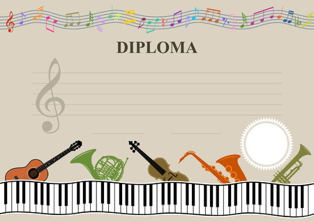 Musical template - Horizontal musical diploma in vector