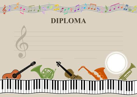 Musical template - Horizontal musical diploma in vector