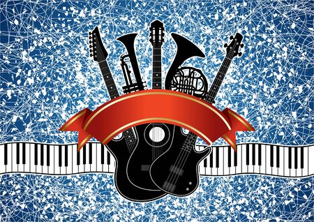 Collage in vector - musical instruments (guitar, piano, trumpet, french horn) on an abstract background