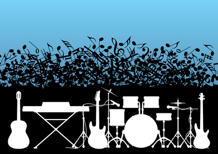 concerto: Musical template: rock instruments - guitar, piano; drum; trumpet on the background of the falling notes in vector