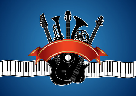 concerto: Collage in vector - musical instruments (guitar, piano, trumpet, french horn) on a blue background Illustration