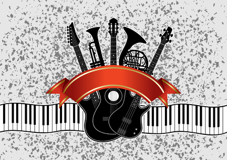 concerto: Collage in vector - musical instruments (guitar, piano, trumpet, french horn) on an abstract background