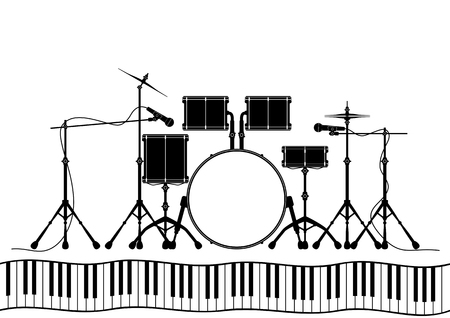 concerto: Musical instruments in vector - drum set, microphone, and piano Illustration
