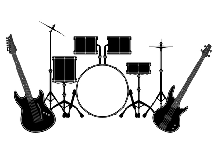 concerto: Drum set and electronic guitar in vector