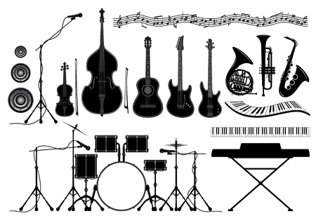 french horn: Set of musical instruments in vector - guitar, piano, trumpet, french horn, drum set, saxophone, violin, double bass, bow, microphone, speaker, music notes Illustration