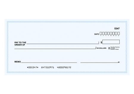 cheque en blanco: Plantilla de vector - El formulario en blanco de un cheque bancario