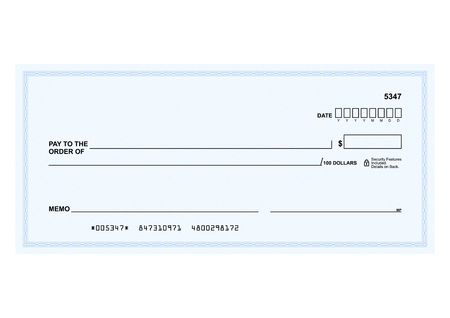 Template in vector - The blank form of a Bank check Ilustrace