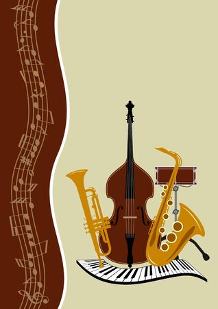 double bass: Template music posters in vector - notes, piano, trumpet, drum, saxophone, double bass Illustration
