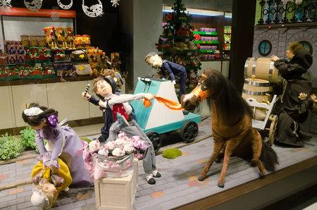 lvov: LVIV, UKRAINE - DECEMBER 22: Doll in a storefront Roshen in the center of Lviv on December 22, 2016 in Lvov, Ukraine