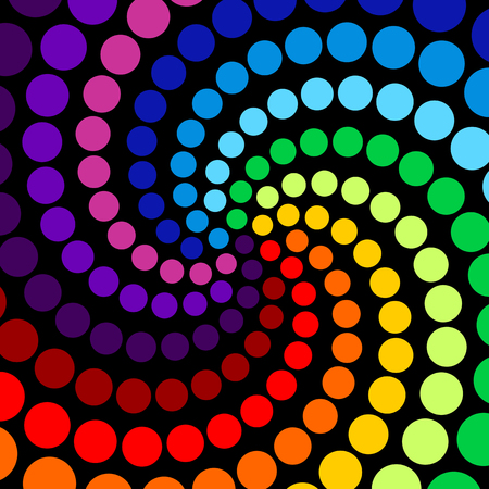 Abstract background of colorful circles in spiraled