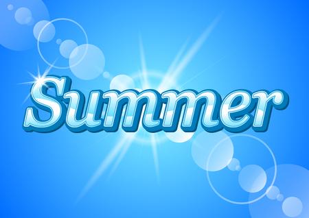 ベクトルに青色の背景に太陽の光線の光線のに対して単語夏  イラスト・ベクター素材