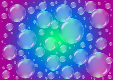 Transparent bubbles on a colored background in vector