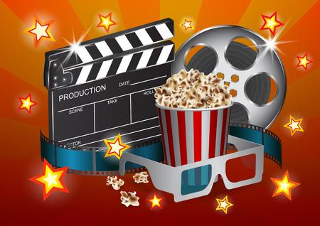 clacker: Vector illustration for the cinema - clapper, film tape, stereo glasses, box of popcorn and star