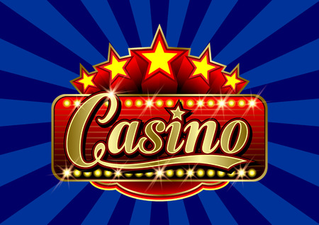 five star: Advertising signboard Casino in vector: word Casino, stars and flare on a blue background Illustration