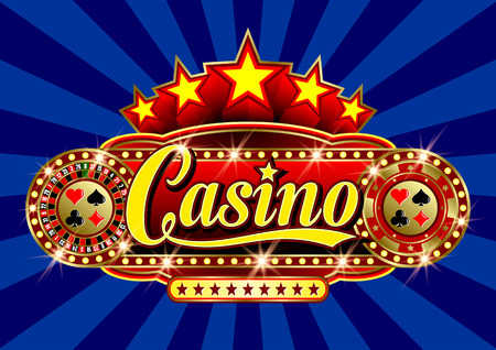 five star: Advertising signboard Casino in vector: word Casino, roulette, casino token (chips), card suits, stars and flare on a blue background