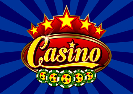 five star: Advertising signboard Casino in vector: word Casino, casino token (chips), card suits, stars and flare on a blue background