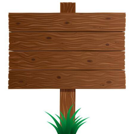 Bruin houten teken boordclose-up in vector geïsoleerd op een witte achtergrond. Houten textuur, plank, bord of achtergrond