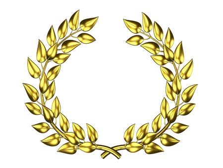 Golden laurel wreath in 3D on white background Stock Photo