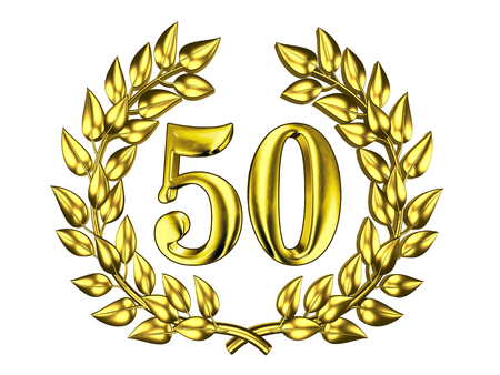 Illustration for the anniversary celebration - Golden figure of 50 (fifty) in a gold wreath isolated on a white background Stock Photo