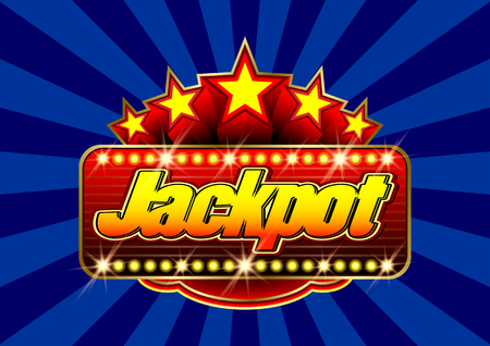 Advertising signboard Casino in vector: word Jackpot, stars and flare on a blue background