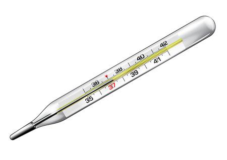 Medizinische Thermometer mit einer Lesung von 37,3 Grad in Vektor isoliert über weiß