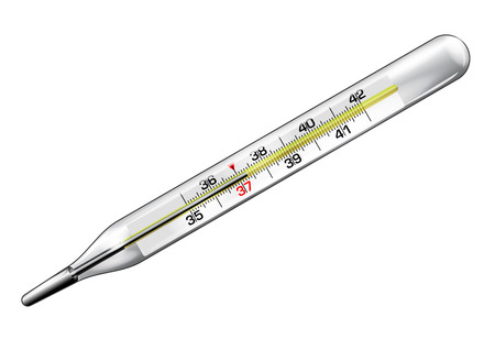 Medical thermometer with a reading of 37.3 degrees in vector isolated over white