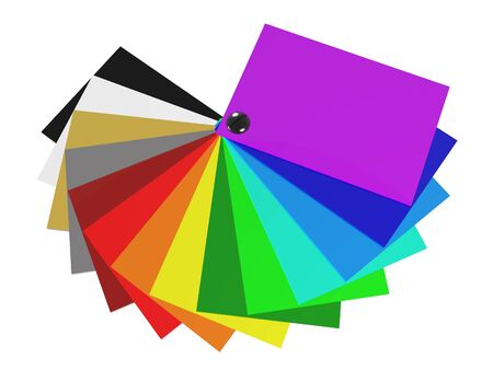 The color palette of acrylic in 3D (spectrum of colors), isolated on white background