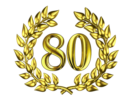 Illustration for the anniversary celebration - Golden figure of 80 (eighty) in a gold wreath isolated on a white background Stock Photo
