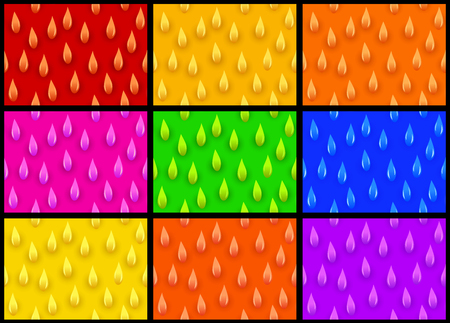 Seamless background - set colored drops in vector Çizim