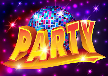 Disco party poster (disco ball background, inscription Party)