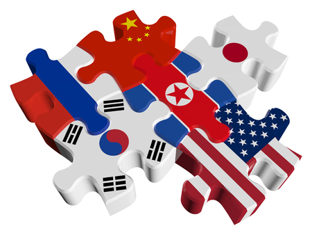 Puzzles in 3d - Six-Party talks on the problem of North Korea (North Korea, South Korea, USA, Russia, China, Japan) isolated on a white background Stock Photo