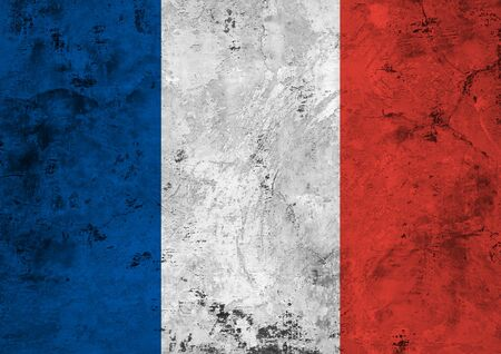 Flag of the France against the background of the stone texture Stock Photo