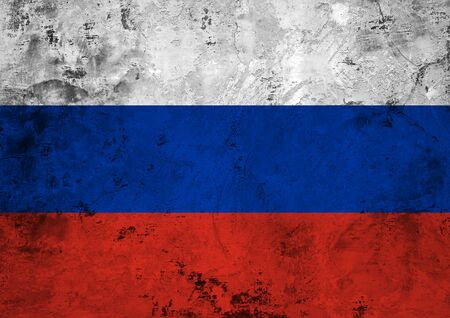 Flag of the Russian Federation against the background of the stone texture Banco de Imagens