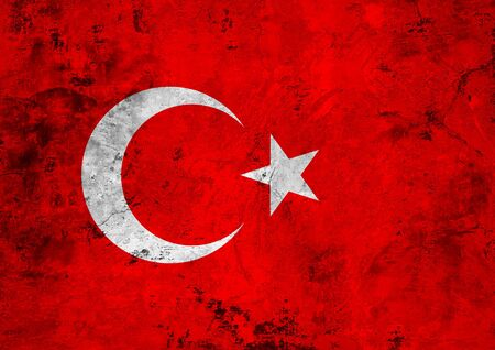 Flag of the Turkey against the background of the stone texture Stock Photo