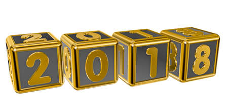 numeric: Gold numbers 2018 on gold squares in 3D isolated on a white background