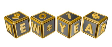 calendar design: Figures 2018 and the inscription New Year on gold cubes in 3D isolated on a white background