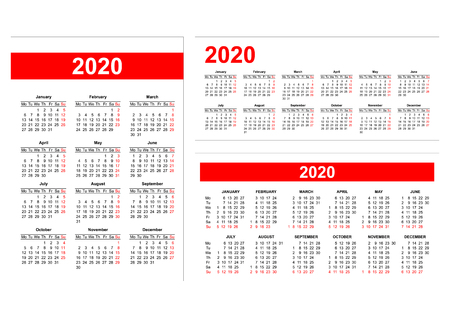 Template - Different format European calendar grid 2020 in vector Иллюстрация