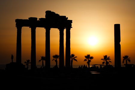 sea side: Temple of Apollo at the sunset, Side, Turkey Stock Photo