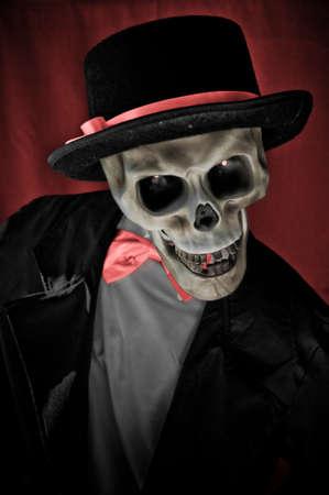 cementerios: Esqueleto en el retrato de suite Foto de archivo