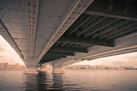 Under bridge city  colorless view in Saint-Petersburg, Russia Stock Photo