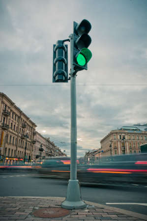 Traffic lights in street center in Saint-Petersburg, Russia