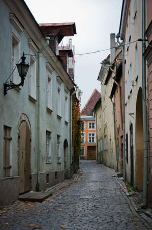Empty scandinavian street in historic center of Tallinn, Estonia photo