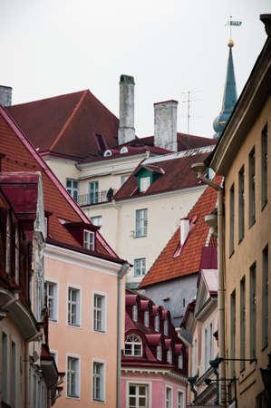 Scandinavian street houses and roofs in Tallinn, Estonia