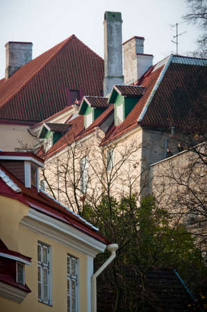 Scandinavian red roofs with strong shadows, Tallinn, Estonia
