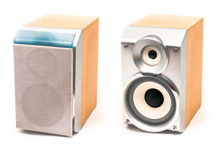 tweeter: Small  wooden stereo speakers with tweeter and woofer Stock Photo